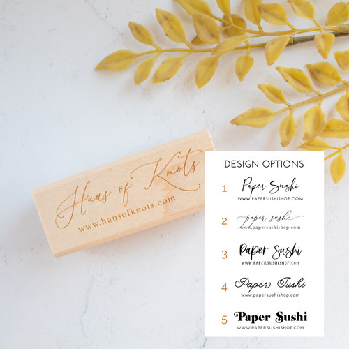 Shop stamp with business name and website by Paper Sushi #branding #rubberstamp