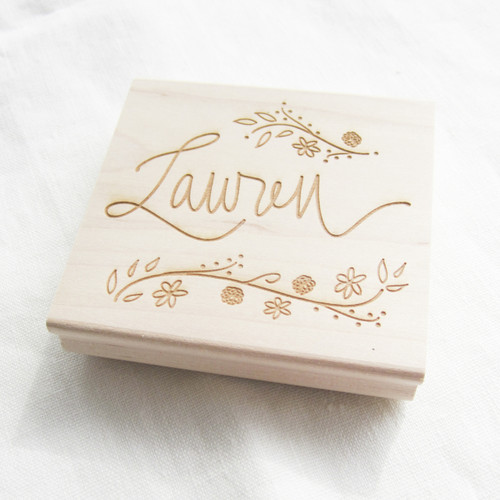 Custom hand lettered rubber stamp by Paper Sushi