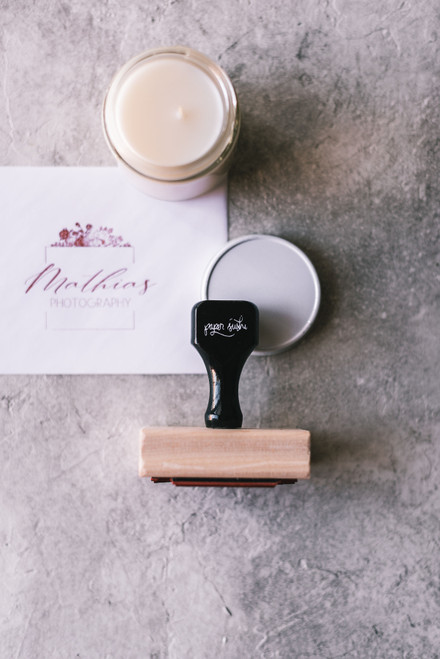 A custom logo rubber stamp makes branding a breeze and frankly it's just fun.  #rubberstamp #logostamp #branding