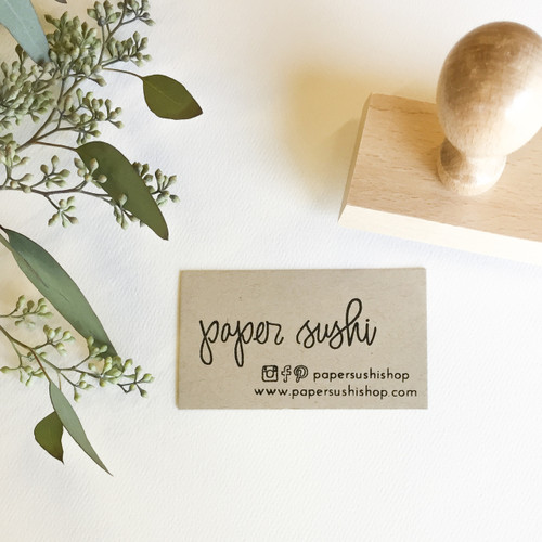 Hand lettered business card stamp by Paper Sushi