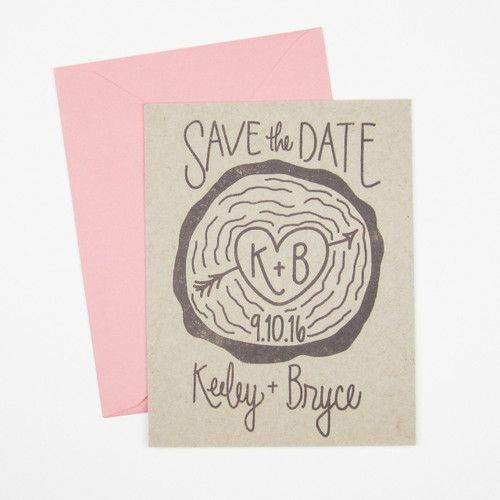 Wood Slice Save the Date stamp by Paper Sushi