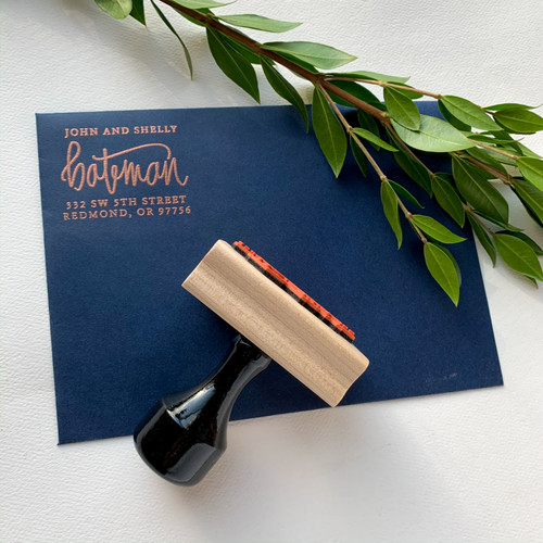 Modern hand lettered address stamp