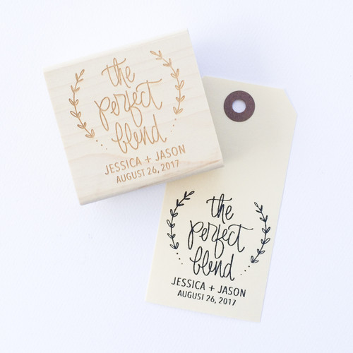 The Perfect Blend wedding favor stamp by Paper Sushi