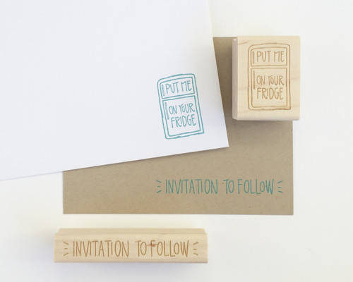 Invitation to follow and Put me on your fridge rubber stamps by Paper Sushi #savethedate
