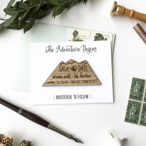 Mountain Save the Date magnets by Paper Sushi