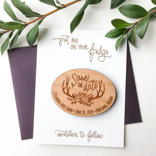 Antler Save the Date magnets by Paper Sushi