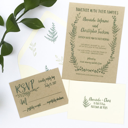 Fern Wedding Invitation Stamp Suite by Paper Sushi