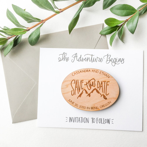 Mountains Save the Date magnets by Paper Sushi