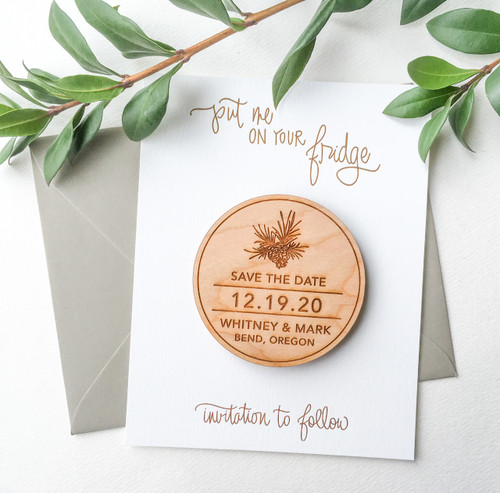 Pinecone Wood Save the Date magnets by Paper Sushi