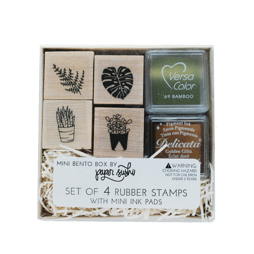 Mini plant love stamp set by Paper Sushi with monstera, succulents and fern