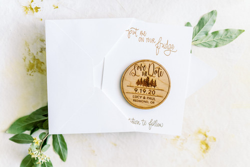 Pine Trees Save the Date Magnets by Paper Sushi