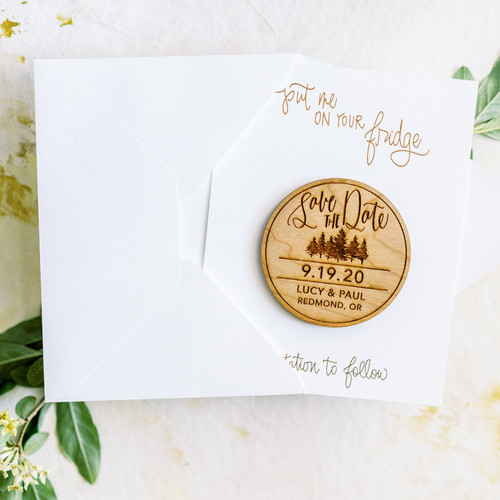 Pine Tree Save the Date Magnets by Paper Sushi