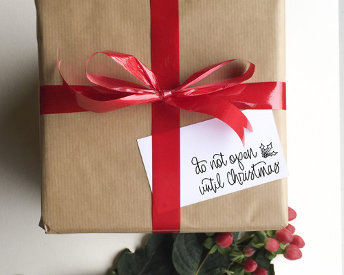 'Do not open until Christmas' rubber stamp from Paper Sushi #giftwrap #christmas