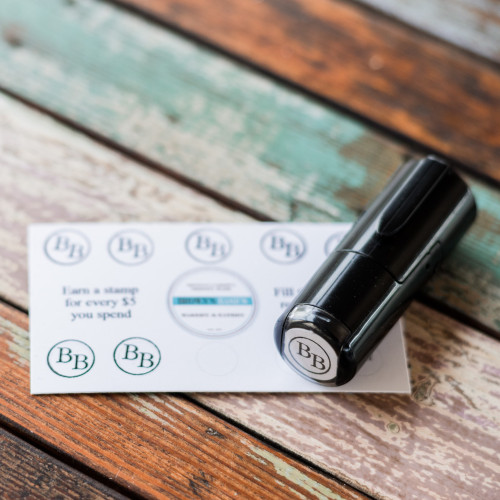 Round loyalty card stamp from Paper Sushi