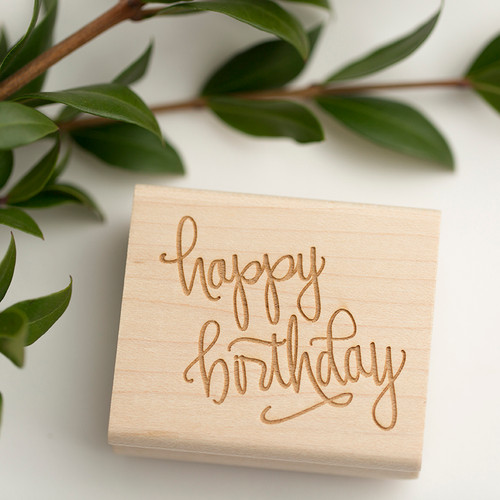 Hand lettered happy birthday rubber stamp by Paper Sushi