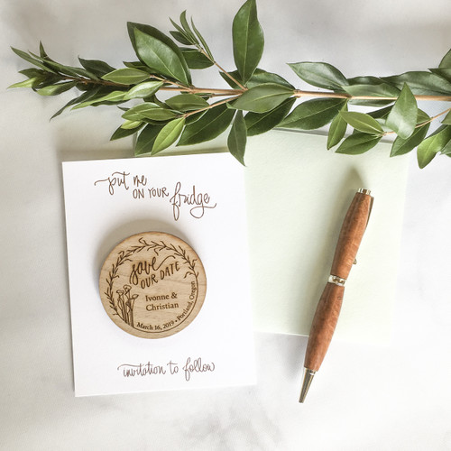Lilies Save the Date Magnet in Real Wood by Paper Sushi