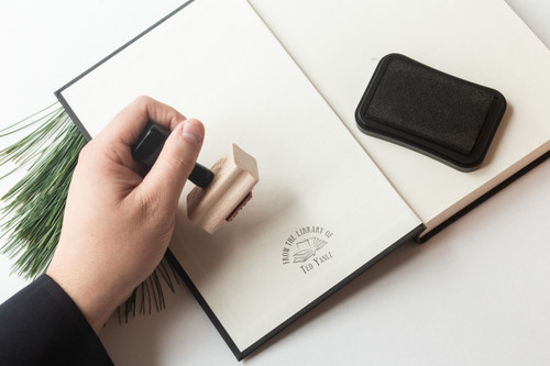 Classic Open Book Bookplate Stamp by Paper Sushi