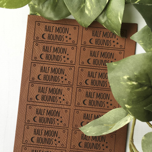 Custom leatherette tags by Paper Sushi