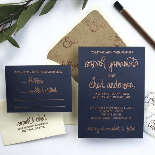 Minimalist hand lettered wedding invitation stamp suite by Paper Sushi