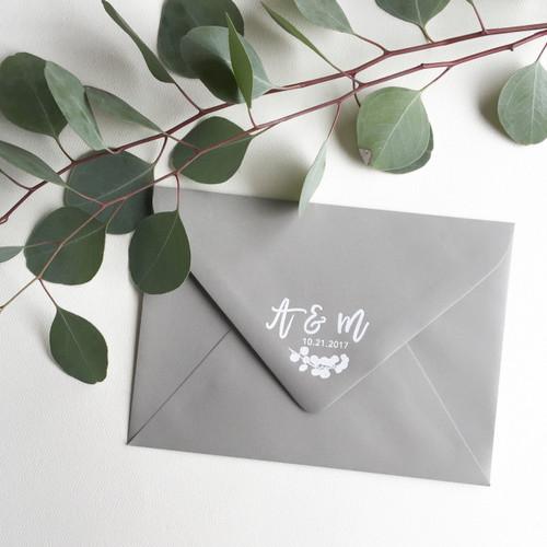 Brush lettered eucalyptus monogram wedding stamp by Paper Sushi