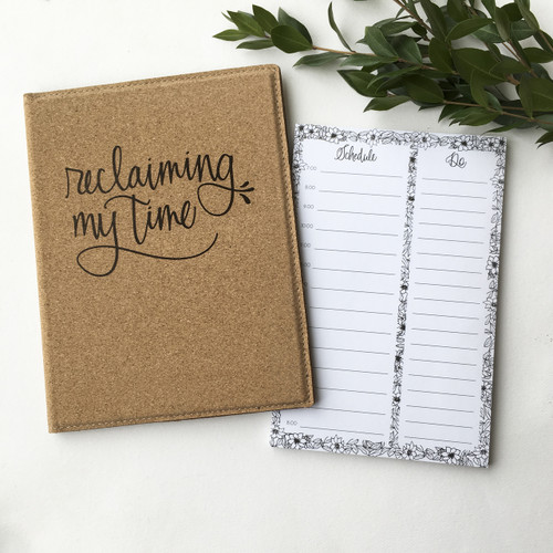 Reclaiming My Time cork padfolio with daily planner notepad by Paper Sushi