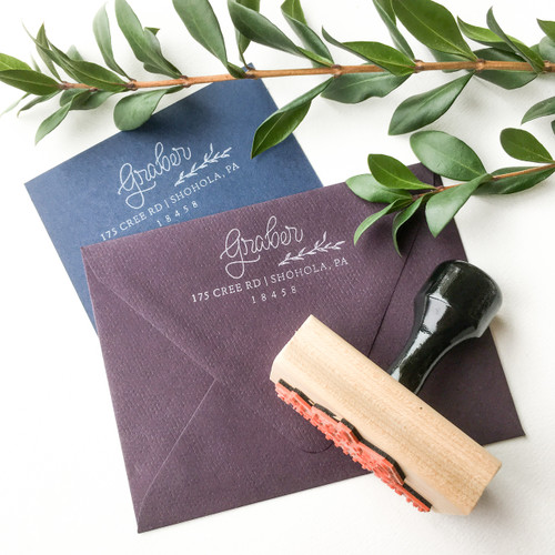 Hand Lettered Greenery Address Stamp