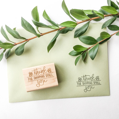 Thank You For Shopping Small Floral Stamp
