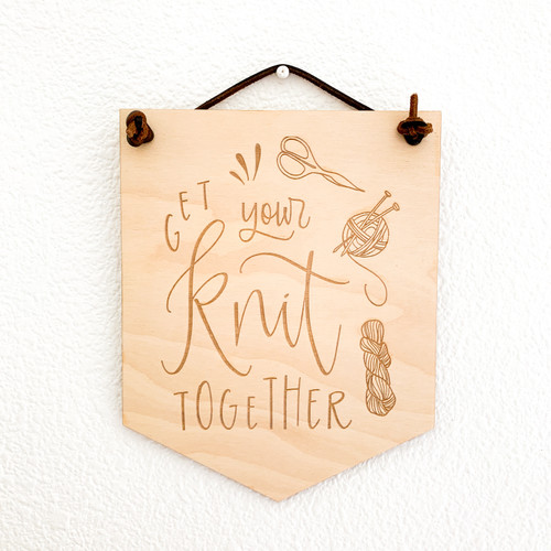 Get Your Knit Together wood wall hanging by Paper Sushi