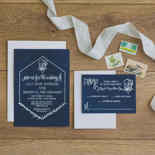 Lilies Wedding Invitation Suite Stamps by Paper Sushi. Stamped wedding invitations are the perfect way to get super expensive effects like white ink on dark paper at really reasonable pricing.