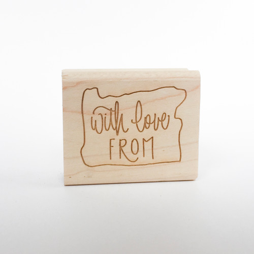 With Love From...Your State!  Hand lettered rubber stamp by  Paper Sushi.  Perfect for gift tags and snail mail!
