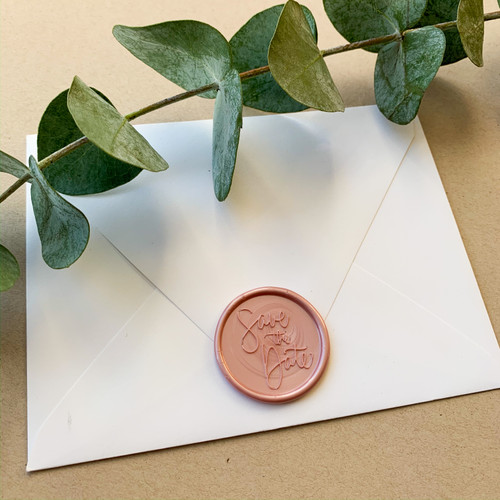 Save the Date adhesive wax seal #savethedate #waxseal by Paper Sushi