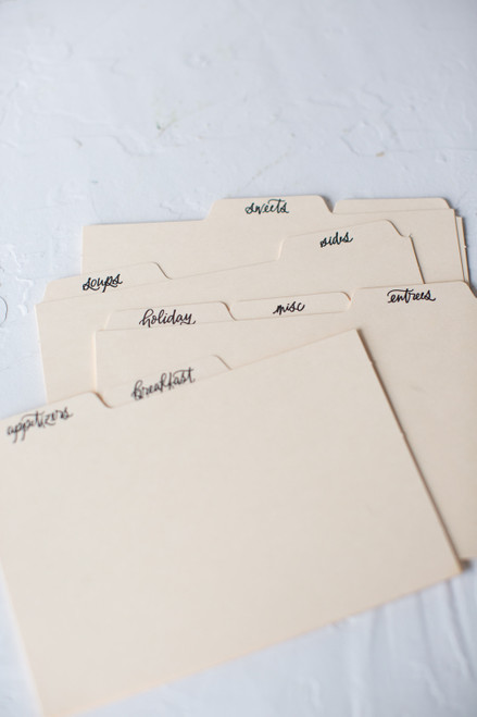 Letterpress printed recipe card dividers by Paper Sushi