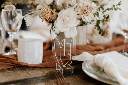 Hand lettered acrylic crystal table numbers by Paper Sushi
