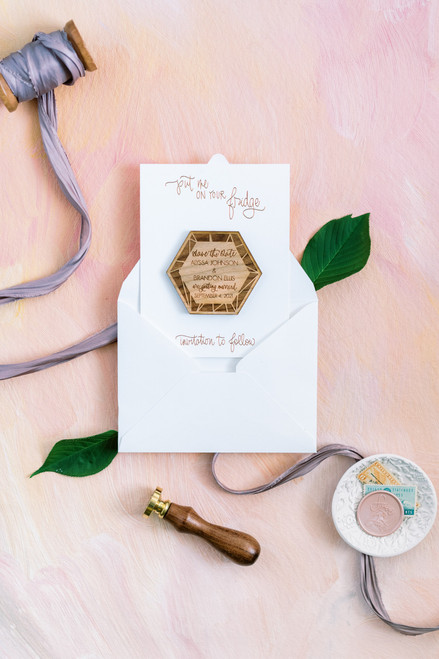 Real wood geometric hexagon Save the Date magnets by Paper Sushi