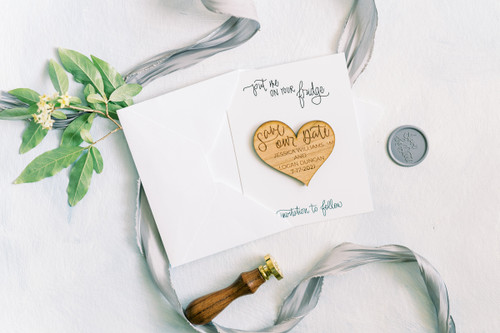 Real wood heart Save the Date magnets by Paper Sushi