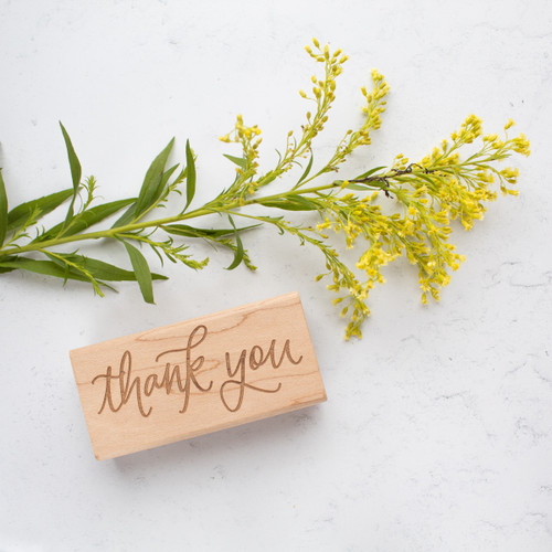 Hand lettered thank you rubber stamp by Paper Sushi