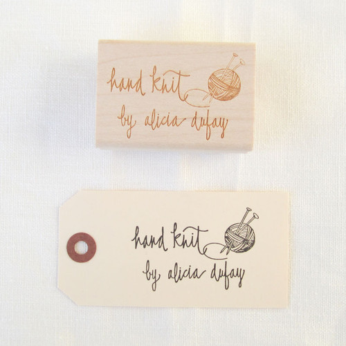 Hand knit by Personalized Rubber Stamp by Paper Sushi