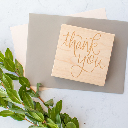 Hand lettered thank you stamp for card making and gift wrapping by Paper Sushi
