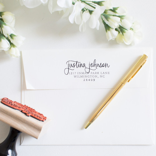Hand lettered custom address stamp by Paper Sushi