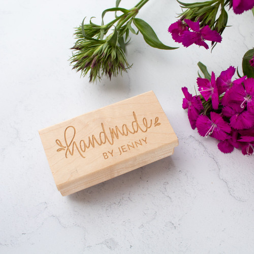 """Personalized """"handmade by"""" rubber stamp by Paper Sushi"""