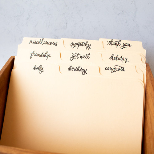 Letterpress greeting card dividers by Paper Sushi
