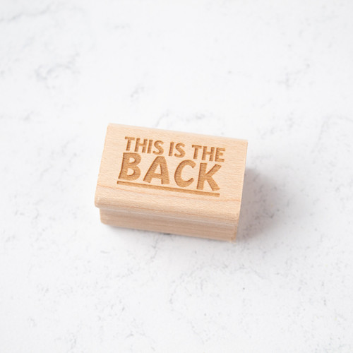 """""""This is the back"""" rubber stamp by Paper Sushi"""