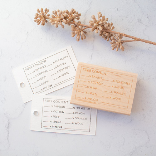 Fiber content hang tag stamp by Paper Sushi