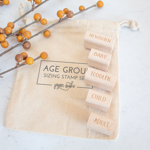 Age group sizing stamp set by Paper Sushi