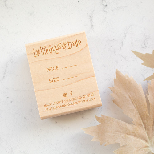 Custom hang tag stamp by Paper Sushi