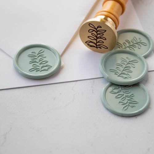 Leaf sprig wax seal by Paper Sushi