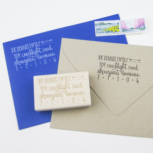 Hand lettered Address Stamp by Paper Sushi