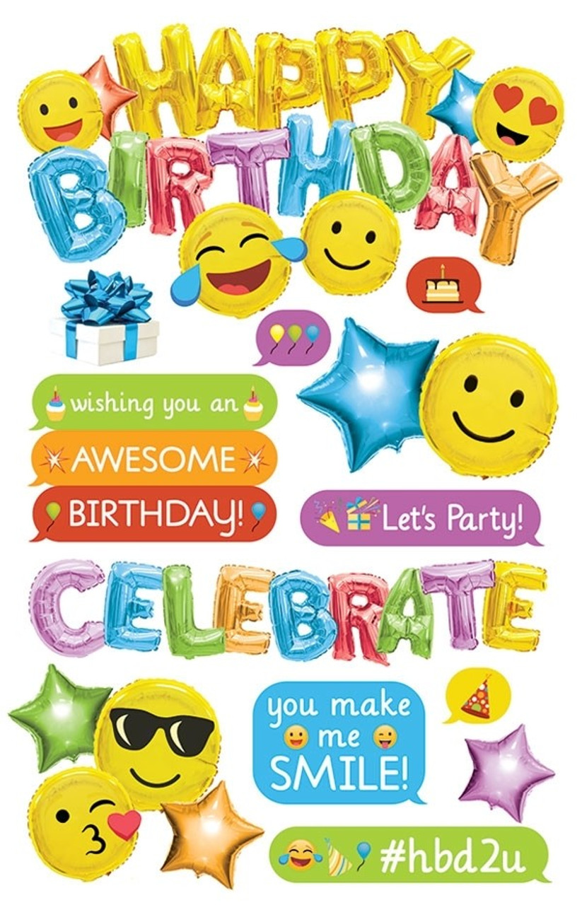 Paper House 3D Stickers Emoji Happy Birthday