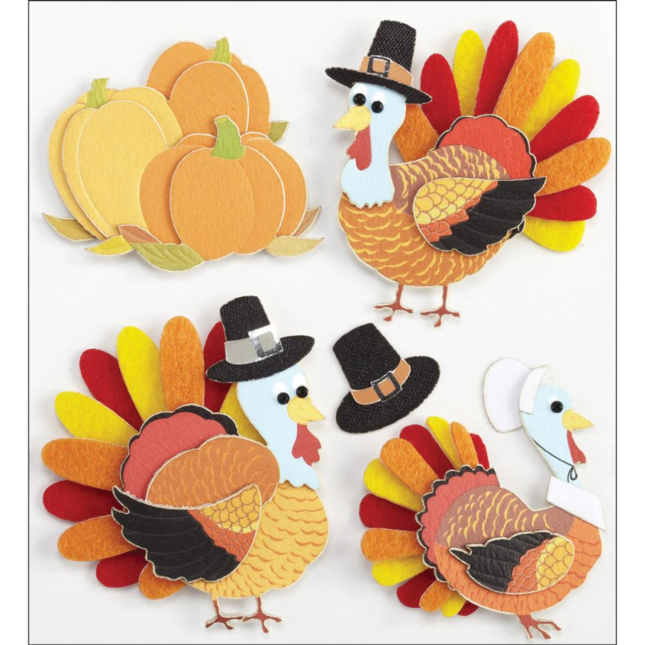 Jolee/'s Boutique Dimensional Stickers Turkey Characters