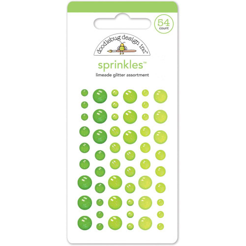 Doodlebug Sprinkles Glitter Enamel Sticker Dots: Limeade